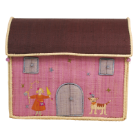 Small Pink Raffia Toy Baskets with Cat Designs Rice DK